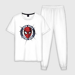 Пижама хлопковая мужская Web Head цвета белый — фото 1