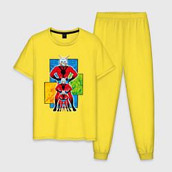 Пижама хлопковая мужская Человек-муравей комикс цвета желтый — фото 1