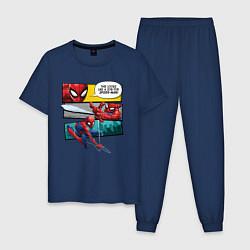 Пижама хлопковая мужская Комикс Человек-паук цвета тёмно-синий — фото 1