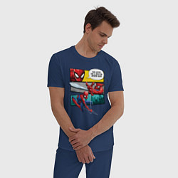 Пижама хлопковая мужская Комикс Человек-паук цвета тёмно-синий — фото 2