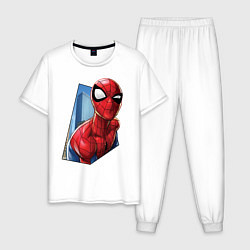 Пижама хлопковая мужская Человек-паук и город цвета белый — фото 1