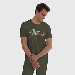 Пижама хлопковая мужская STRAY KIDS HYUNGIN цвета меланж-хаки — фото 2