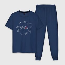 Пижама хлопковая мужская STRAY KIDS АВТОГРАФЫ цвета тёмно-синий — фото 1