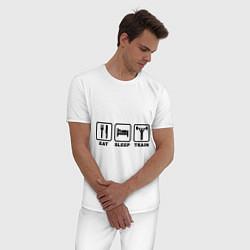 Пижама хлопковая мужская Eat Sleep Train цвета белый — фото 2