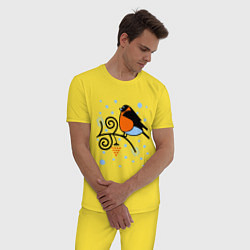 Пижама хлопковая мужская Снегирь на ветке рябины цвета желтый — фото 2