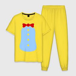 Пижама хлопковая мужская Костюм Пингвина цвета желтый — фото 1