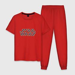 Пижама хлопковая мужская STAR WARS клетка цвета красный — фото 1