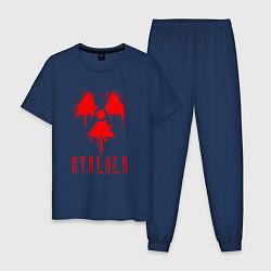 Пижама хлопковая мужская S T A L K E R 2 цвета тёмно-синий — фото 1