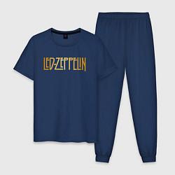 Пижама хлопковая мужская Led Zeppelin цвета тёмно-синий — фото 1