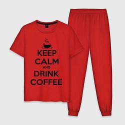 Пижама хлопковая мужская Keep Calm & Drink Coffee цвета красный — фото 1