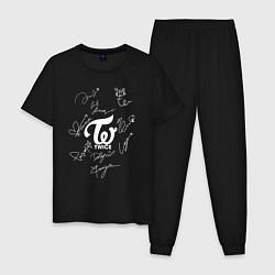 Пижама хлопковая мужская TWICE АВТОГРАФЫ цвета черный — фото 1