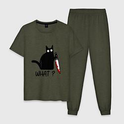 Пижама хлопковая мужская What cat цвета меланж-хаки — фото 1