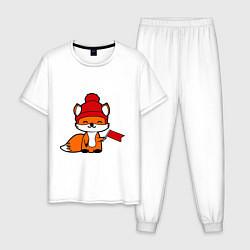 Пижама хлопковая мужская Лисичка с флажком цвета белый — фото 1