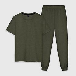 Пижама хлопковая мужская Без дизайна цвета меланж-хаки — фото 1