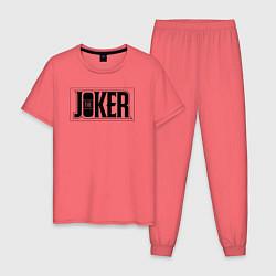 Пижама хлопковая мужская The Joker цвета коралловый — фото 1