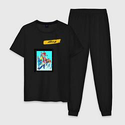 Пижама хлопковая мужская Ateez цвета черный — фото 1