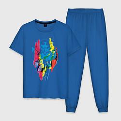 Пижама хлопковая мужская Batman цвета синий — фото 1