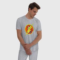 Пижама хлопковая мужская Flash цвета меланж — фото 2