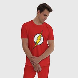Пижама хлопковая мужская Flash цвета красный — фото 2