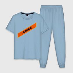 Пижама хлопковая мужская Ateez цвета мягкое небо — фото 1