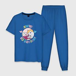 Пижама хлопковая мужская Aww so Squish цвета синий — фото 1