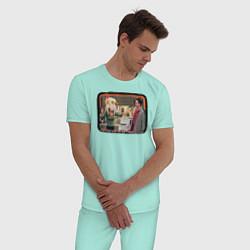 Пижама хлопковая мужская Thanksgiving Day цвета мятный — фото 2