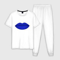 Пижама хлопковая мужская Губы цвета белый — фото 1