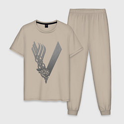 Пижама хлопковая мужская Vikings цвета миндальный — фото 1