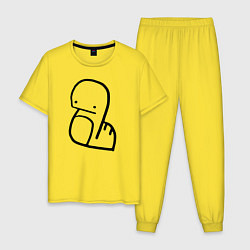 Пижама хлопковая мужская Stray Kids цвета желтый — фото 1