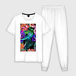 Пижама хлопковая мужская Красочные Тропики цвета белый — фото 1
