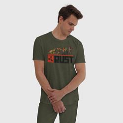 Пижама хлопковая мужская Evolution Rust цвета меланж-хаки — фото 2