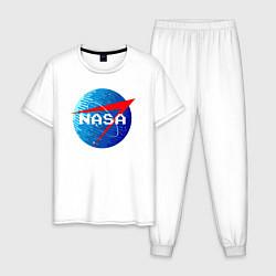 Пижама хлопковая мужская NASA Pixel цвета белый — фото 1