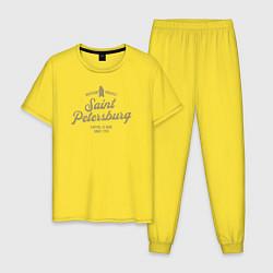 Пижама хлопковая мужская Санкт-Петербург Gold Classic цвета желтый — фото 1