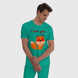 Пижама хлопковая мужская Влюбленная лисичка i love you! цвета зеленый — фото 2