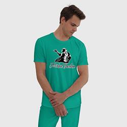Пижама хлопковая мужская Танцующий цвета зеленый — фото 2