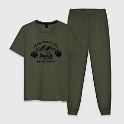 Пижама хлопковая мужская Горы зовут цвета меланж-хаки — фото 1