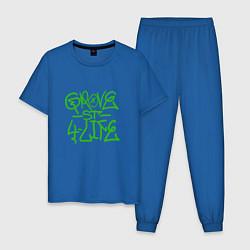 Пижама хлопковая мужская Grove Street цвета синий — фото 1