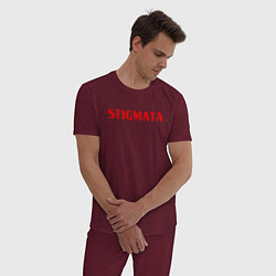 Пижама хлопковая мужская Stigmata цвета меланж-бордовый — фото 2