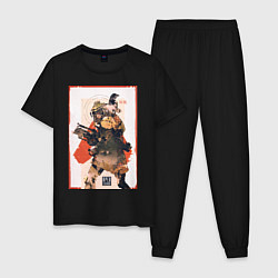 Пижама хлопковая мужская Apex Legends Bloodhound цвета черный — фото 1