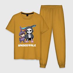Пижама хлопковая мужская UNDERTALE цвета горчичный — фото 1