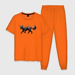 Пижама хлопковая мужская Лис Лес цвета оранжевый — фото 1
