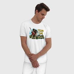 Пижама хлопковая мужская Тимо цвета белый — фото 2