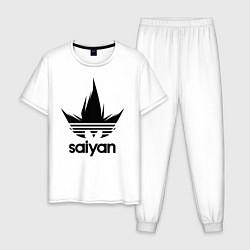 Пижама хлопковая мужская Saiyan цвета белый — фото 1