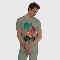 Пижама хлопковая мужская Геометрический пейзаж цвета авокадо — фото 2
