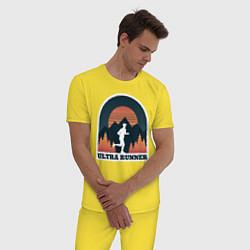 Пижама хлопковая мужская Бег цвета желтый — фото 2