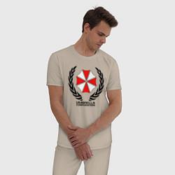 Пижама хлопковая мужская UMBRELLA CORP цвета миндальный — фото 2