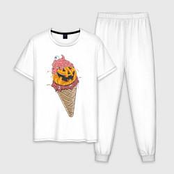 Пижама хлопковая мужская Pumpkin IceCream цвета белый — фото 1