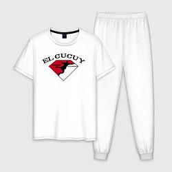 Пижама хлопковая мужская El Cucuy на спине цвета белый — фото 1