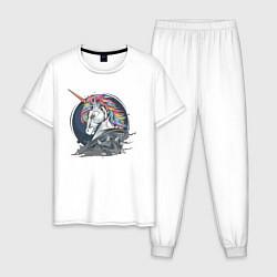 Пижама хлопковая мужская Единорог Rock цвета белый — фото 1