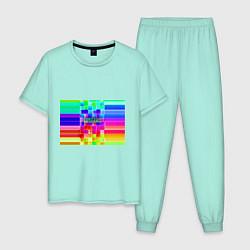 Пижама хлопковая мужская Роблокс цвета мятный — фото 1
